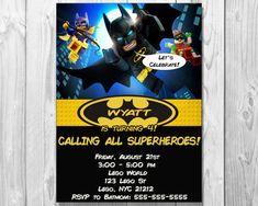 LEGO BATMAN MOVIE Birthday Party Invitation Invite by BBNGRAFX