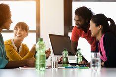 International office workers having casual meeting