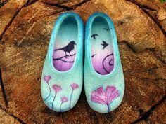 """Купить """"Птички в саду"""", валяные домашние тапочки - тапочки, домашние тапочки, валяные тапочки, тапки"""