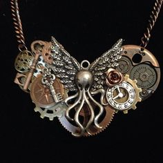 R'lyeh Necklace only one available! Shop the link in my profile! #steampunk #Cthulhu #octopus #tentacles #jewelry #ooak #100daysfigmenting #figmentcostuming #lovecraftian #lovecraft