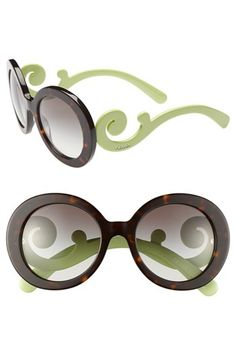 Prada 'Baroque' 55mm Round Sunglasses available at Nordstrom in Tortoise (havana)