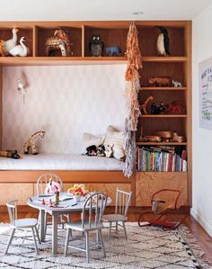 Cute midcentury modern kids room and beautiful wooden furniture @Melody Patton