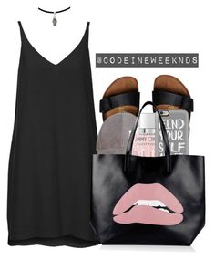 """8/16/16"" by codeineweeknds ❤ liked on Polyvore featuring Birkenstock, Topshop, Jimmy Choo, Casetify and RED Valentino"