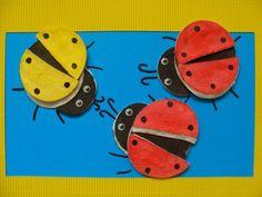 Elegant ideas of crafts with children from cotton wheels! Save it! Clock, Children, Cotton, Handmade, Crafts, Wheels, Elegant, Insects, Card Crafts