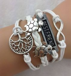 Infinity Turtle Wishing Tree Friendship Leather Charm Bracelet