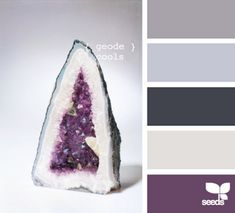 geode cools open concept-kitchen-dining-living purple in kitchen and into dining room gray as accent wall in living room all else eggshell/cream? geode cools open concept-kitchen-dining-living purple in kitchen and into… Design Seeds, Bathroom Colors, Kitchen Colors, Bedroom Colours, Bathroom Grey, Kitchen Themes, Colour Schemes, Color Combos, Color Trends