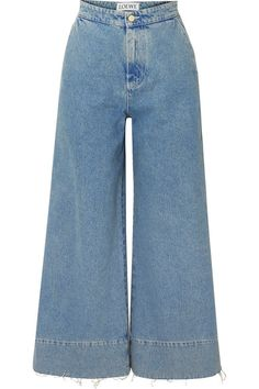 Blue denim Button and concealed zip fastening at front cotton; Wide Jeans, Cropped Wide Leg Jeans, Plus Zise, Trendy Hoodies, Striped Bodysuit, Jeans Dress, Cute Casual Outfits, Fashion Outfits, Clothes