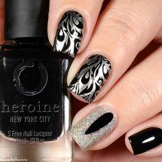 Buff and Polish on Tumblr, Silver Chrome Florishes on Black, with Swarovski Crystal
