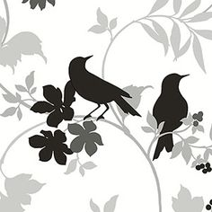 Black grey and white contemporary birds wallcovering [BLCK-17340] : Designer Wallcoverings, Specialty Wallpaper for Home or Office