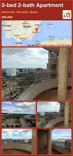 Apartment for Sale in Almoradí, Alicante, Spain with 3 bedrooms, 2 bathrooms - A Spanish Life Apartments For Sale, Valencia, Portugal, Alicante Spain, Built In Wardrobe, Large Bedroom, Terrace, Living Spaces, Palmas