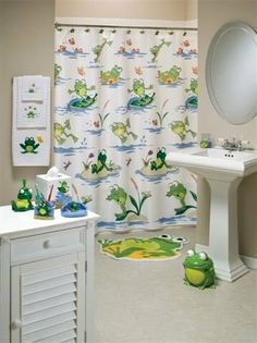 Frog Mania Bath Accessories, Shower Curtain - - Product Description: The Frogmania bath collection features frolicking frogs enjoying the day with their friends in the pond. Whether surfing on a Frog Bathroom, Bathroom Shower Doors, Baby Bathroom, Bathroom Stuff, Shower Curtain Sets, Fabric Shower Curtains, Frog House, Bathroom Decor Pictures, Frog Design