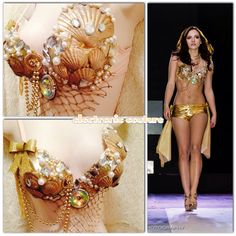 Golden Mermaid Rave Bra and Shorts Set  Size by ElectronicCouture, $95.00
