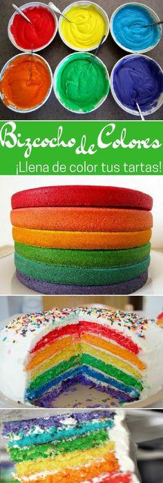 Cómo hacer bizcochos de colores para decorar tartas fáciles más bonitas  #tips  #bizcocho #recipe #receta #nestlecocina #buddyvalastro #tartas #torta #cocina   Necesitarás los siguientes ingredientes:  1 vaso de leche  2 vasos de azucar  1 vaso de ac... Crazy Cakes, Cupcake Cakes, Cupcakes, Pound Cake, Vintage Colors, Fondant, Cake Decorating, Bakery, Food And Drink
