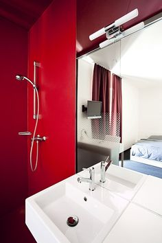Hotel Caldor - Self Check In Bathroom Red, Bathroom Interior, Bathrooms, Amazing Architecture, Partner, Interior Design, Mirror, Storage, House