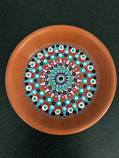 Hand painted clay dot mandala dish. Unique design using white, light blue, dark purple, and magenta acrylic paint. Glossy finish. Great for coin or key dish, outdoor use, or home decor! Measures 4.5 inches in diameter and is 1 inch tall. Mandala Painting, Dot Painting, Mandala Art, Mandela Stones, Rock Box, Painted Rocks, Hand Painted, Clay Bowl, Clay Pot Crafts