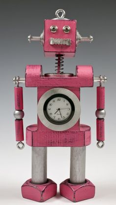 Pink robot clock!!! How awesome!!!