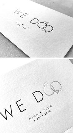 invitation // Mosstudio // Nina & Nick // silver foil // black white silver // sleek // modern // We Do // rings // marry // invitation Wedding Prep, Wedding Tips, Our Wedding, Wedding Planning, Dream Wedding, Wedding White, Beautiful Wedding Invitations, Wedding Invitation Cards, Wedding Stationery