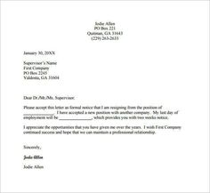 Letter Of Resignation Email Draft Example Professional Job