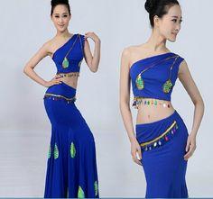 New Peacock Dress Chinese Dai Minority Performance Dance Wear National Costumes Dance Female Fishtail Skirt Ethnic Dai Dance 003 #Affiliate