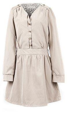 Beige Long Sleeve Studded Shoulder Sweetheart Neck Belted Dress US$60.80