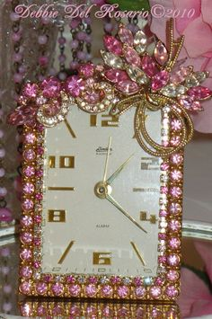 A Beautiful Pink Rhinestone Jeweled  Linden Black Forest Vintage Alarm Clock  Weiss Jewels-Phinney, Walker, Clock, Vintage, Pink, Rhinestones, Alarm, Vintage, Victorian,