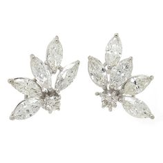 1960s Diamond Ear Clips | From a unique collection of vintage clip-on earrings at https://www.1stdibs.com/jewelry/earrings/clip-on-earrings/