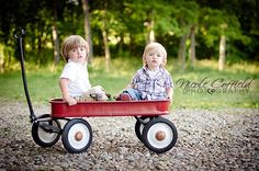 toddler photography - brothers in a little red wagon - country family photography kids