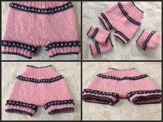 Pinky Knit Shorts, Hat, Legwarmers ~ shorts are high-waisted ~ size is for 3+ mo. old baby ~ easy level ~ FREE - KNIT
