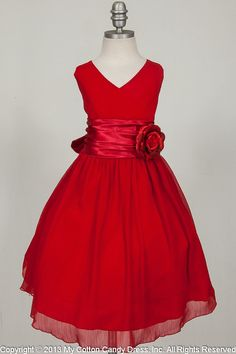 Red wrinkled chiffon Flower Girl Dress