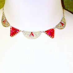 Vintage Necklace Art Deco Red 1930s  Brass by nanascottagehouse, $75.00