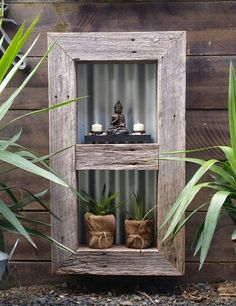 Double bay vertical garden shadow box. Recycled timber frame measures 50cm x 90cm x 10cm. Comes with Buddha and candle tray and 2 pot plants for ...... $95 Click this link to go to our website to order www.newagerusticdesigns.com.au or personal message me or email newagerustic@gmail.com or sms 0418-315-890