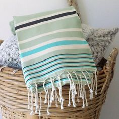 Ideal for beach, sports or towel. Felt Cushion, Bee Embroidery, Textile Art, Hand Weaving, Towel, Cushions, Plate, Stripes, Blanket