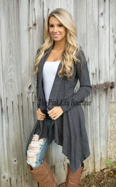 The Pink Lily Boutique - Chasing Waterfalls Charcoal Cardigan , $39.00 (http://thepinklilyboutique.com/chasing-waterfalls-charcoal-cardigan/)