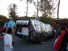 trunk or treat car decoration ideas change to a big blue whale - Halloween Car Decorations