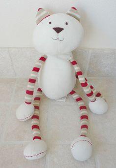 Pottery Barn Kids PBK Cream Fleece Plush Cat Tan & Red Long Dangling Legs & Arms