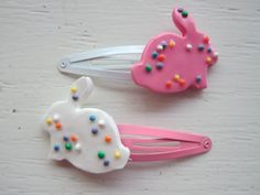 Bunny Cookie Polymer Clay Hair Clip Set by tinytangerines on Etsy, $13.95