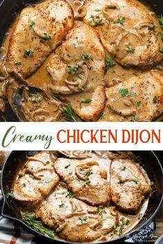 Chicken Dijon Best Chicken Casserole, Skillet Chicken, Casserole Recipes, Dijon Chicken, Creamy Chicken, Delicious Dinner Recipes, Healthy Recipes, Creamy Sauce, Chicken Cutlets