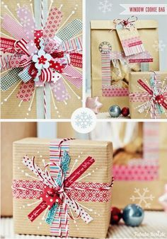 Love this idea for washi tape Christmas gift wrap ... so fun! Mehr