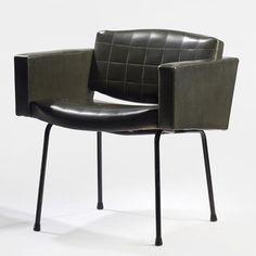 Pierre Guariche; Painted Steel and Vinyl Armchair for Meurop, 1961.