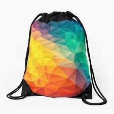 Backpack Bags, Drawstring Backpack, Graphic Design Humor, Triangle Design, Cubism, Low Poly, Woven Fabric, Backpacks