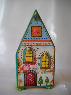 Little wooden house, ice cream truck, girls room, table top, mixed media art, altered art, wood block house, girls décor, nursery, baby by juliekarsky on Etsy