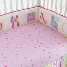 Laura Ashley Owlphabet Girls Nursery Crib Bumper Pad Floral Bird Alphabet ABC's…