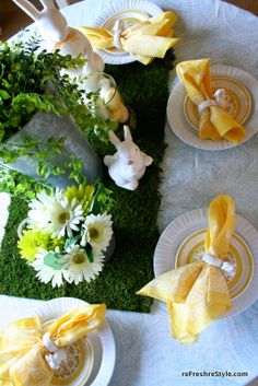 Astro turf for a taplescape!  Great idea for Easter Brunch!