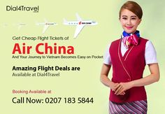 To fly get of airline available at The deal makes tourists feel amazing as they are quite affordable for pocket. So grab deals now. Call at: 0207 183 5844 Best Airlines, Cheap Airlines, Air China, Cheap Flight Tickets, Flight Deals, Vietnam, Pocket, Amazing, Bag