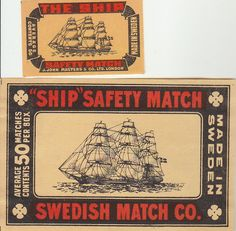 2 match box labels the ship sweden sail boats different I found this on www.urbitrend-collectables.com