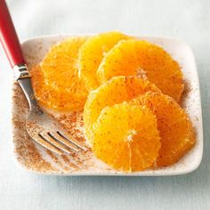 Jazz up plain oranges with a sprinkling of ground cinnamon or ginger in this simple recipe for Cinnamon Orange Slices. More fruit recipes: http://www.bhg.com/recipes/healthy/eating/best-heart-healthy-fruit-recipes #myplate #fruit