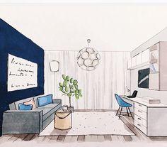 Apprendre A Dessiner L Interieur D Une Maison Interior Perspective