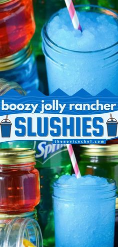This contains: Boozy Jolly Rancher Slushies, alcoholic drinks, cocktail ideas Drink Recipes Nonalcoholic, Easy Drink Recipes, Drinks Alcohol Recipes, Punch Recipes, Alcoholic Drinks, Fun Cocktails, Party Drinks, Chai Tea Recipe, 4 Ingredient Recipes