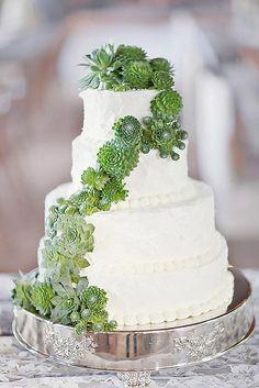 Gâteau de mariage succulent - Les succulentes et la pâtisserie se rencontrent enfin ! Delicious Prickly Wedding Cakes And Cupcakes ❤ See more: http://www.weddingforward.com/prickly-wedding-cakes/ #weddings
