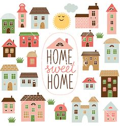 Home Sweet Home Illustration Stock Vector (Royalty Free) 181052390 Building Illustration, House Illustration, Illustrations, House Doodle, Wood Block Crafts, Cartoon House, House Vector, Sweet Home, Home Icon